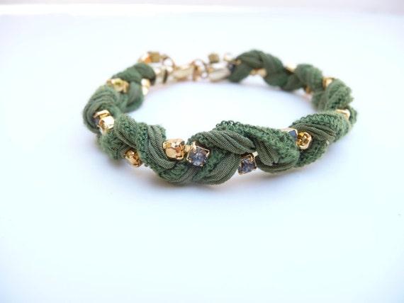 Braided Green Silk Ribbon with Rhinestone Chain