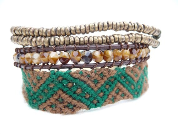 3 Layered Friendship Bracelets in Brown and  Green