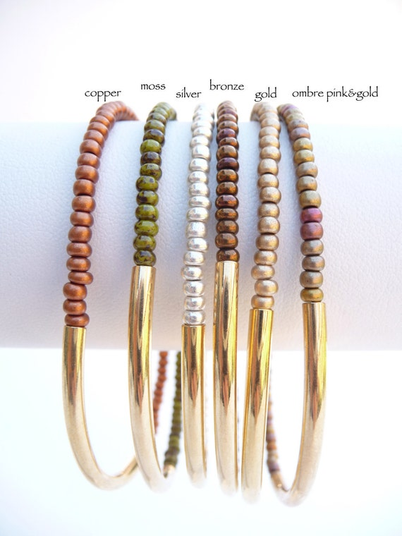 Delicate Indian Beads  with Gold Tube Friendship Bracelet