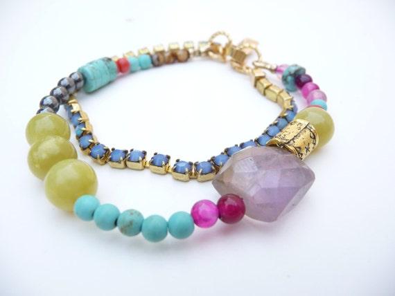 Mixed Beads and Amethyst Ametrine Friendship Bracelet