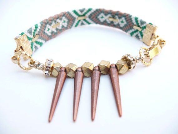 Tribal Spikes Friendship Bracelet in Green and Tan