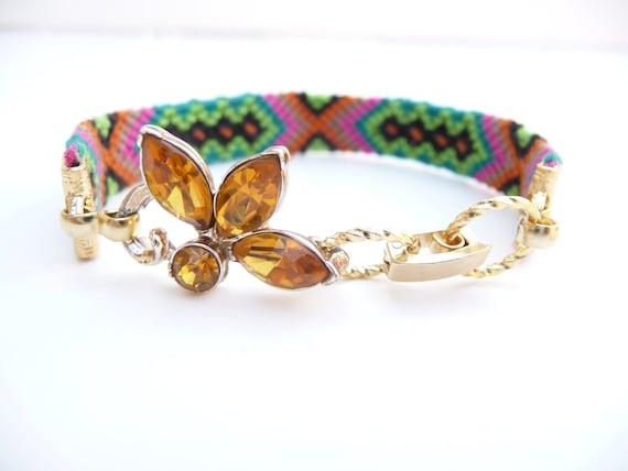 Vintage Berry Bracelet  with Vintage Topaz Flower Link