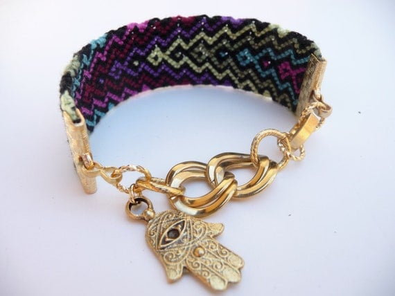 Into the Night Friendship Bracelet with Vintage Gold Chain Links and Hamsa Charm