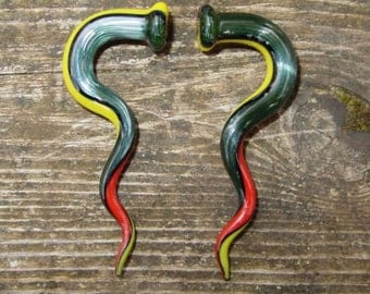 Rasta Swirl 2g gauged ear plugs earrings talons for stretched piercings