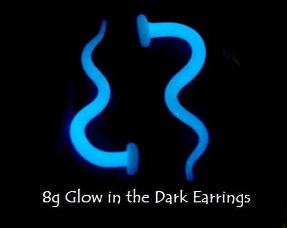 Glow in the Dark 8g gauged ear plugs earrings talons for stretched piercings