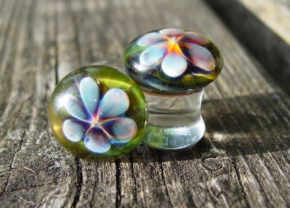 "1/2"" gauged ear plugs earrings talons for stretched piercings - Summer Flower"
