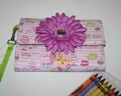 Crayon Roll Wristlet- Tea Time