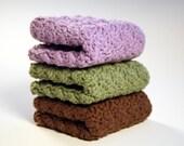 Kitchen Dishcloths - Hand Crocheted in Brown, Sage, Lavendar