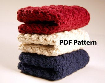 Crochet PDF Pattern - Kitchen Dishcloth - DIY Digital Printable Tutorial - Kitchen Towel Dish Cloth How To