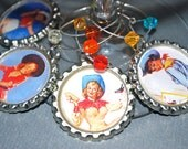 Wine Charm: Retro Western Pin-up Girls  - Set of 4