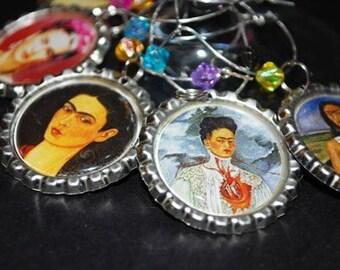 Wine Charms. Frida Kahlo Wine Charms - Set/6
