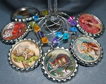 Wine Charms --  Alice in Wonderland - Set/6 Charms for Your Wine Glasses