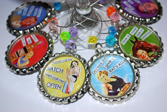 Wine Charms: Retro Girls Night Set/6 - Snarky Sayings that Make You Giggle