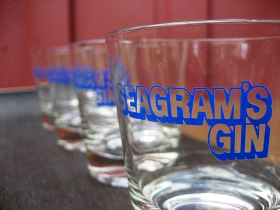 Set of 4 Seagrams Gin Single Glasses