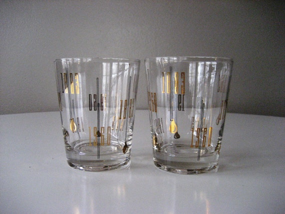 Set of 2 Mad Men 1960 Double Old Fashioned Glasses