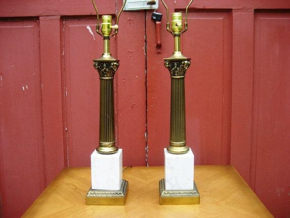 Hollywood Regency Kitsch Modern Table Lamp Set of 2
