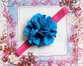 SALE...MORGAN-Bright Blue Fabric Bloom on a Hot Pink Headband