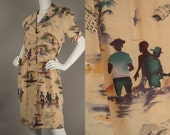 Vintage 80s Albert Nipon Silk Monet Print Dress Boaters Sea Life 40s Style M