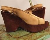 Vintage 70s Platform Suede Tan and Brown Sandals Heels Sling Back Open Toe Shoes 8