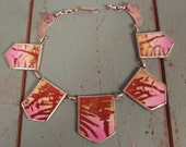 Vintage 1940s Silver and Enamel Pink Brown Choker Necklace Amyethyst