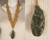 RECERVED Vintage 1970s Macrame Crochet Necklace Green California Jade Hippie Ethnic