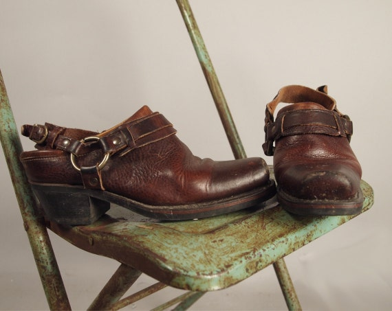 Vintage 90s FRYE Boot Harness Clogs Shoes Ankle Straps Brown Mens 8.5 Womens 10