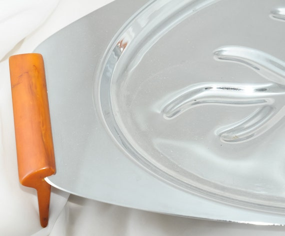 Gorgeous Vintage Butterscotch Bakelite and Chrome GloHill Meat Platter, FREE SHIPPING