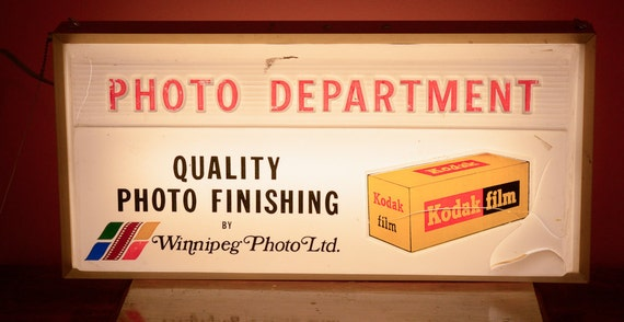 RESERVED - Vintage Kodak Advertising Photo Department Double-Sided Light Up Sign, Tag 2057