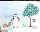 Mowing Penguin Card