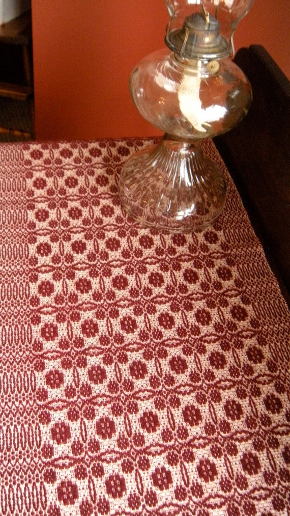 Handwoven Table Runner Cranberry Red Overshot