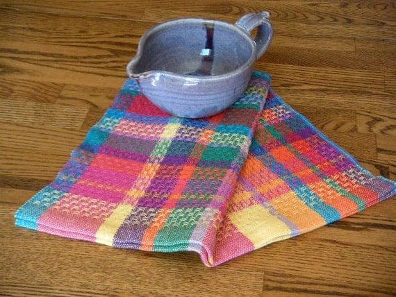 Handwoven towel - Rainbow Plaid