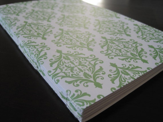 Softcover Journal Notebook Green and White Damask Blank Pages
