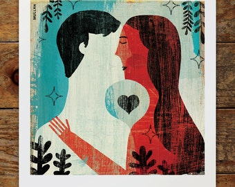 8x8 Young Lovers Art Print