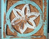 Box for Seashells-Fishbone Design-Turquoise and White-Distressed Wood
