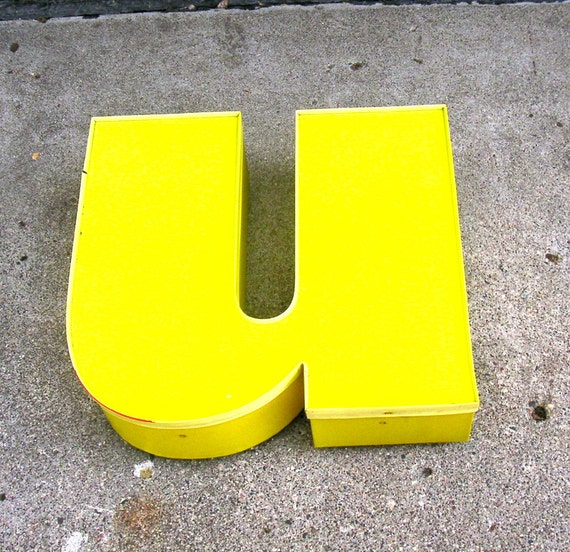 Giant Vintage Sign letter lower case u