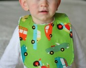 Cars and Green Chenille Bib Handmade by Sew Simply Baby