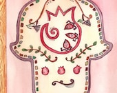 Lovely Pomegranate Hamsa Original Watercolor Painting - Limited time low price