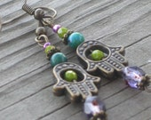 Jewel-Toned Hamsa Earrings - Dangling Hamsas