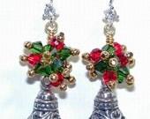 JBB Sterling Filigree Silver Bell Christmas Earrings