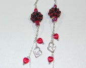 Red Tom Gronwall Beads Sterling Hearts Cathy Dailey Valentine Earrings JBB