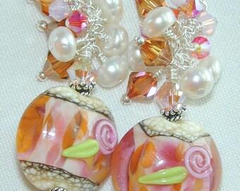 JBB Coppered ROSES Handmade LAMPWORK Earrings