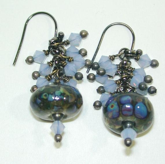 JBB Sky Blue Opal Swarovski over Artisan Labradorite Bead Earrings-Blue Opal Earrings-Labradorite Earrings