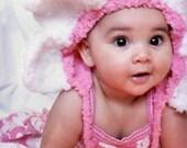SALE Preemie Newborn Baby Daisy Flower Bonnet Pink Baby Hat - Girl Crochet Bonnet Candy Pink White Preemie Hat Baby Shower Gift