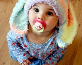 6 to 12m Baby Bunny Hat Baby Beanie - Crochet Bunny Baby Hat in Rainbow Spray Flopsy Rabbit Hat For Girls Photo Prop
