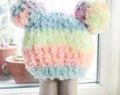 SUMMER SALE 3 to 6m Baby Pom Pom Hat Rainbow Hat Baby Photo Prop - Crochet Baby Hat Double Pom Pom Rainbow Beanie Pom Pom Beanie