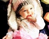 SALE 0 to 3m Baby Girl Hat, Newborn Baby Hat, Pink Stripe Bunny Hat, Crochet Newborn Baby Shower Gift Baby Newborn Hat Christmas