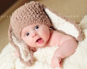 0 to 3m Newborn Hat Baby Bunny Hat Newborn Photo Prop, Girl Newborn Bunny Beanie Boy Baby Hat, Brown Cream Bunny Ear Baby Shower Gift