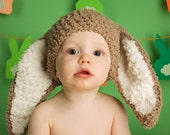 12 to 24m Baby Bunny Hat Baby Beanie Animal Hat Crochet Baby Brown Hat Bunny Beanie Baby Hat Bunny Ears Toddler Photo Prop, Easter Gifts