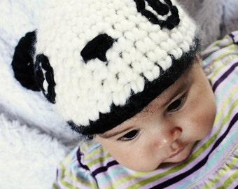 CIJ SALE 3 to 6m Panda Bear Hat Black White Baby Hat Baby Panda Photo Prop - Girl Boy Baby Bear Crochet Panda Animal Photo Prop