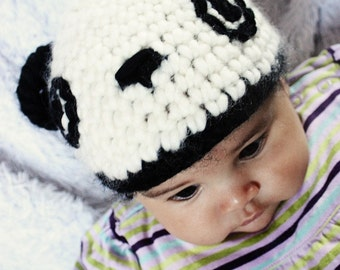 SALE 6 to 12m Panda Bear Hat Baby Crochet Animal Hat - Crochet Panda Baby Hat Black Off White Panda Hat Baby Prop Photo Prop Gift  Labor Day